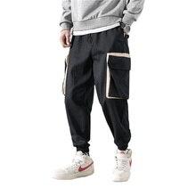 Мужские брюки-карго в стиле хип-хоп, милые мужские Лоскутные Комбинезоны, уличная одежда, штаны для бега, Мужские штаны с несколькими карманами для фитнеса, повседневные мужские штаны-шаровары