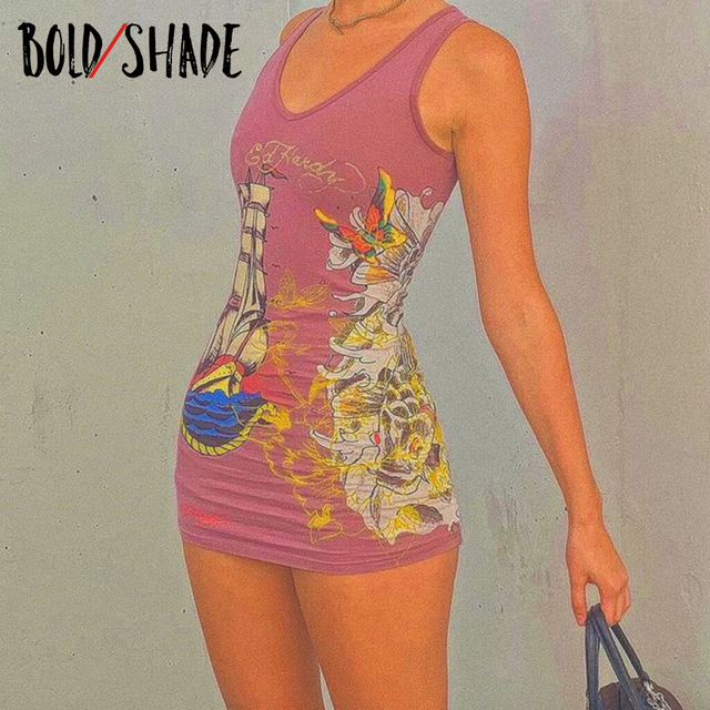 Bold Shade Street Style Women Summer Dress Indie Casual Fashion Graphic Printing  Mini Dresses Sleeveless Bodycon Clothes 2021 1