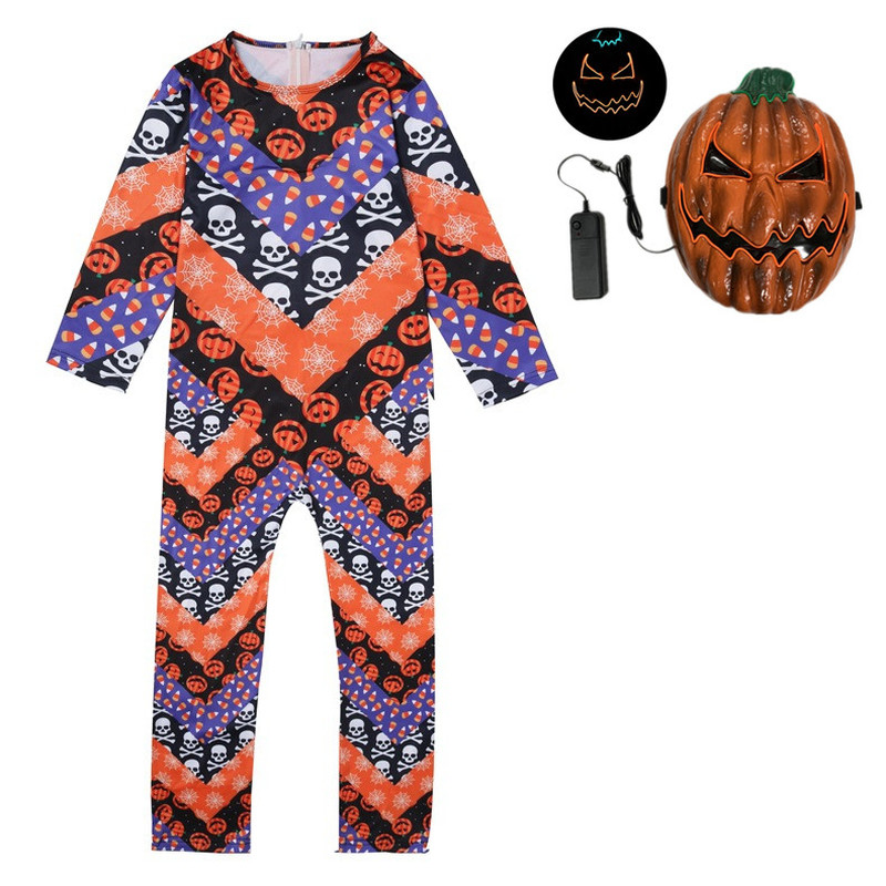 Halloween Costume Boy Girl Costumes LED mask Pumpkin man skin Outfit Children Kids Clothes for Halloween Cosplay Party Cape