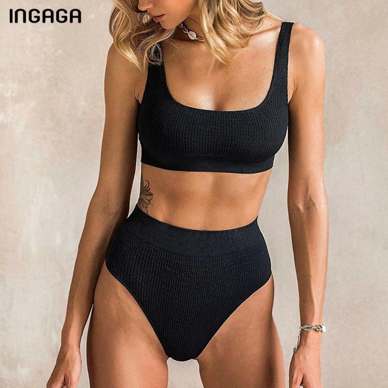 INGAGA High Waist Bikini Mujer Sexy Push Up Swimwear Women Solid Vest Swimsuit Female Black Biquini New 2020 Sports Swim Suit