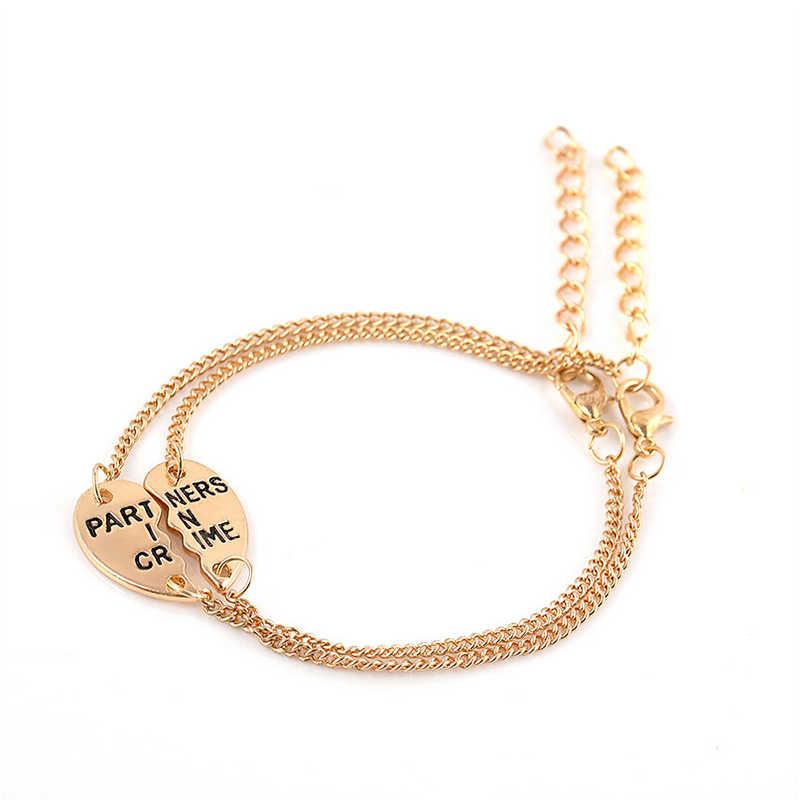 """1 Set Vintage """"socios en el crimen"""" pulsera de mejores amigos para mujer accesorios de joyería BFF Cadena de corazón de plata"""