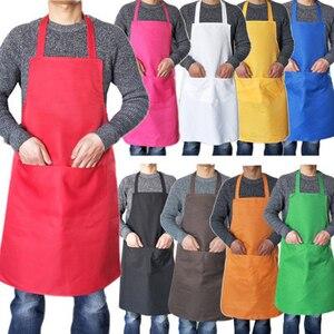 Image 5 - Kochen Schürze Männer Frau Reine Farbe Baumwolle Polyester Ärmellose Schwarze Schürze mit Doppel Tasche Haushalt Reinigung Für Mama Papa