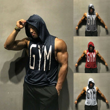 Men Gym Hoodie Tank Top Clothing Bodybuilding Stringer 2019 Brand New Fashion Muscle hooded Shirt
