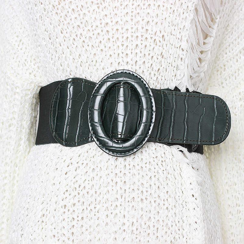 TWOTWINSTYLE Coreano Listrado Cinto Para Mulheres Cintos de Cintura Alta Vestidos Acessórios Elástico Fêmea Magro 2019 Verão Nova Moda