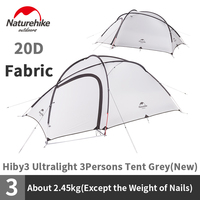 Naturehike Hiby3 Ultralight Camping Tent 20D Nylon Grey White Double Layer Outdoor Rainproof 3 Persons Portable Family Tent