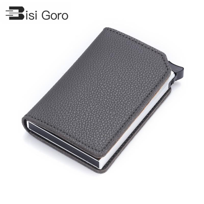 BISI GORO 2020 Carbon Fiber Anti-theft Card Holder RFID Pop-up Clutch Multi Men And Women Unisex Card Case Multi Smart Wallet