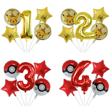5Pcs 30 inch Number Balloon Cartoon Pokemon Pikachu Foil Balloons 1 2 3 4 5 6 7 8 9st Children's day Birthday Party Decor toy 5pcs 1 4 page 7
