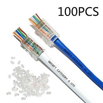 2021 NEW 50pcs/100pcs CAT5E CAT6 Plug EZ RJ45 Network Cable Modular 8P8C Connector End Pass Through Z HOTSALE 1