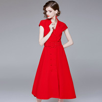 Summer Womens Dresses Casual Floral Retro Vintage 50s 60s Robe Rockabilly Swing Pinup Vestidos Valentines Day Party Dress