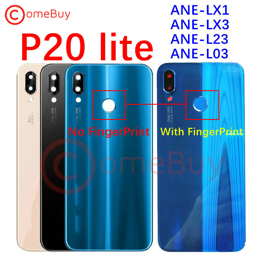 For Huawei P20 Lite Back Battery Glass Cover Rear Window Panel Door Case+Fingerprint Button For Huawei P20 Lite Back Glass Cover