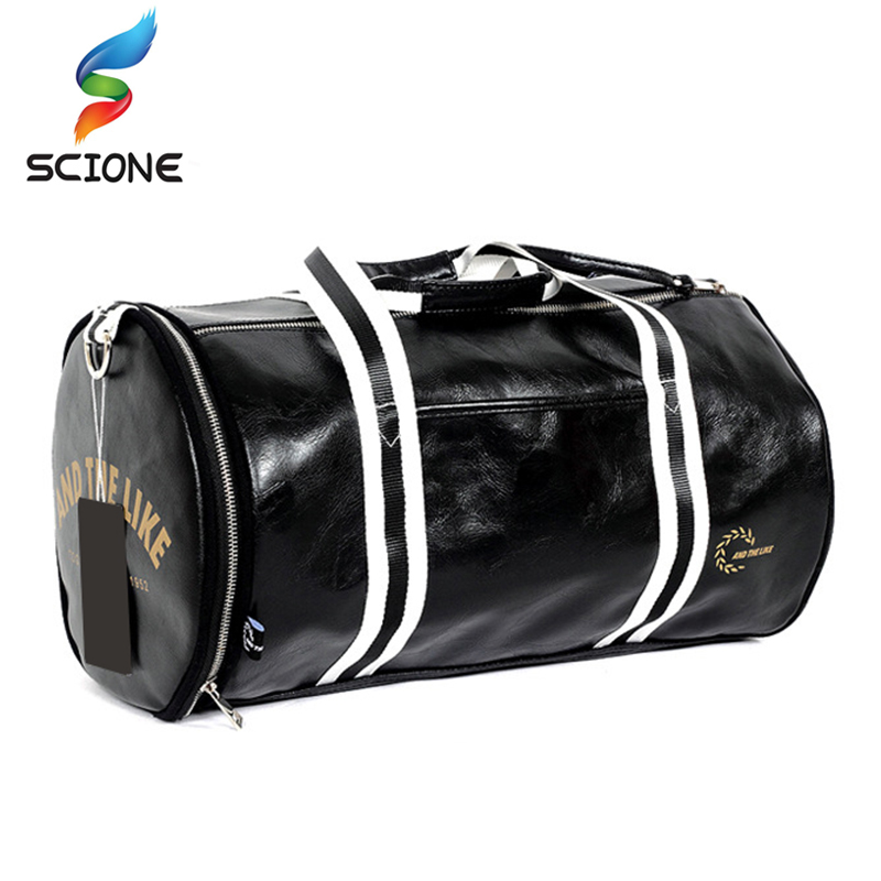 Top Outdoor PU Leather Men's Sports Gym Bags Classic Travel HandBag Fitness Training Shoulder Bags With Independent Shoes Pocket