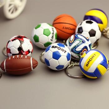 Llaveros deportivos de fútbol 3D Souvenirs PU Bola de voleibol de cuero llavero para hombres fanáticos del fútbol llavero colgante regalos de novio