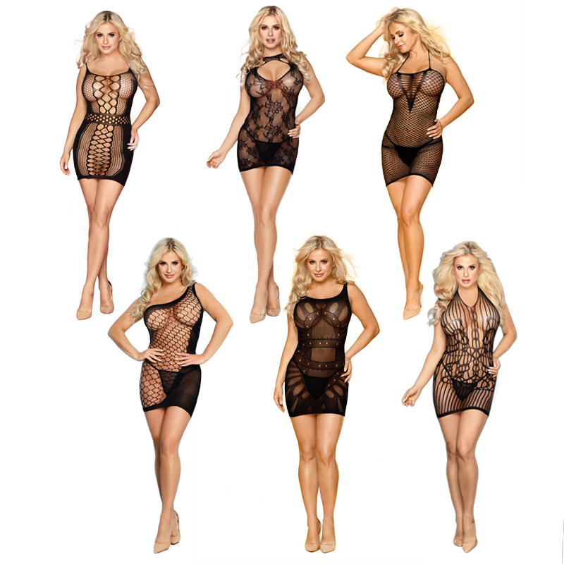 Sexy Lingerie Women Transparent Dress Grid Stretches Well Hollow Nightwear Lace Sexy Underwear Exotic Lingerie For Sex Baby Doll