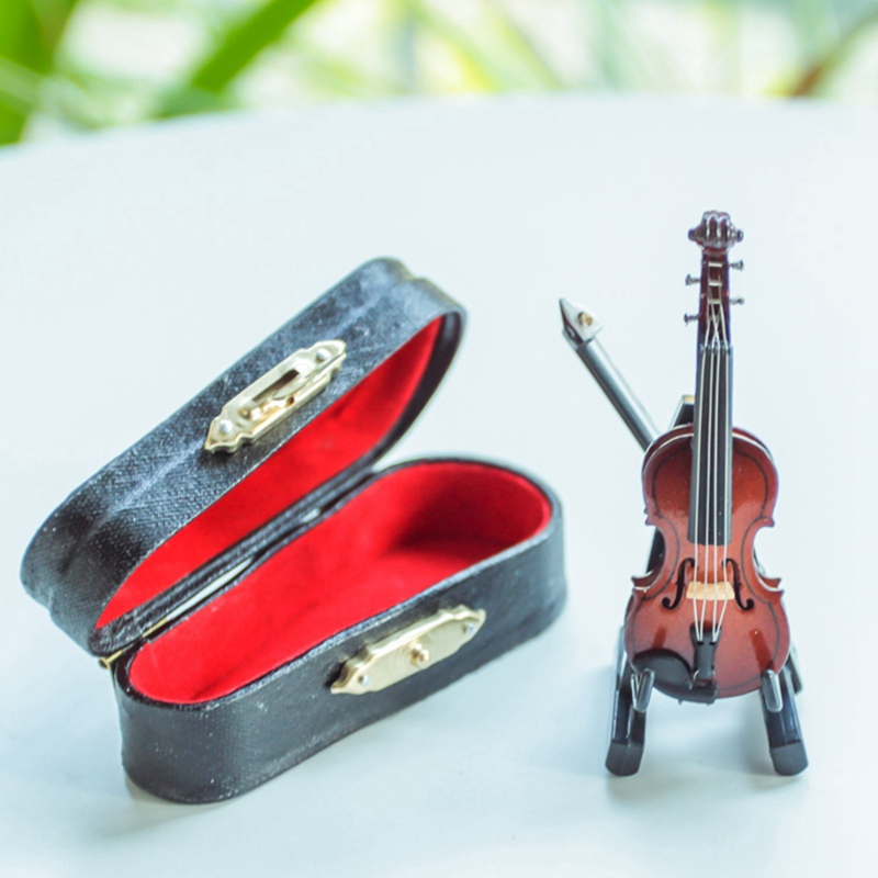 Mini Unique Violin Figurines Small Table Desktop Ornament Wooden Decoration Crafts For Living Room Home Decoration Birtday Gifts