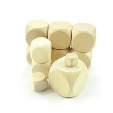 10-60mm de madeira natural em branco simples cubos de madeira sem chumbo seis 6 lados festa família diy jogo impressão gravura brinquedos do miúdo
