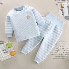 Хлопковая одежда для маленьких девочек; зимние детские комплекты; сезон осень; трехслойный утепленный бархатный костюм с высокой талией для младенцев