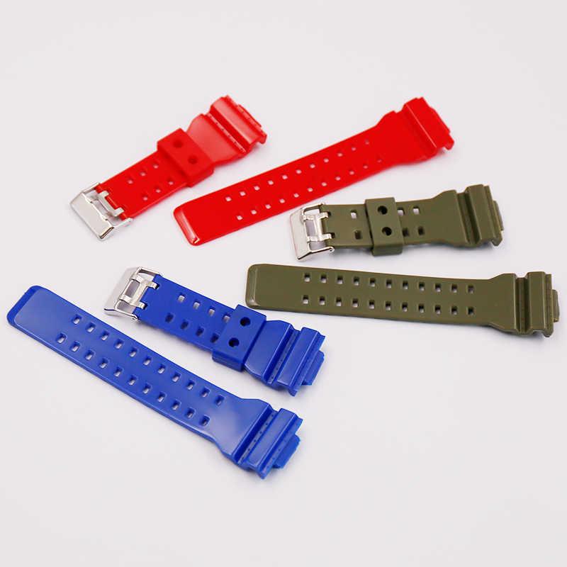 Akcesoria do zegarków 16mm do Casio żywica błyszczący pasek G-SHOCK GA GD GLS 100 110 120 ze sprzączką męski i damski zegarek sportowy pasek