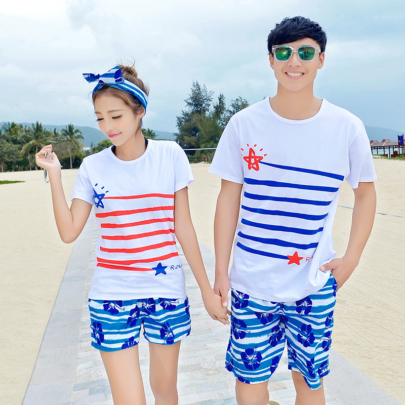 Summer Beach Couple Clothes Beach Shorts Blue And White Strip Flower Swimsuit Casual Athletic Pants