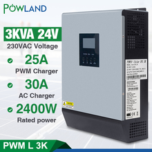 3kva Solar Inverter 24V 220V Hybrid Inverter Pure Sine Wave Built in 50A PWM Solar Charge Controller Battery Charger inversor