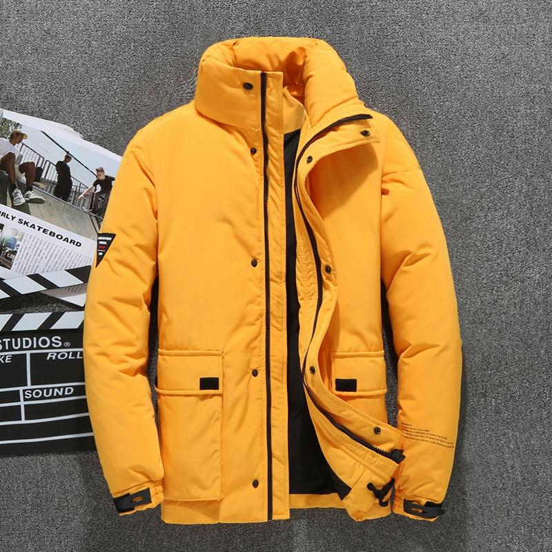 2019 New Fashion Men's Winter Down Jacket Yellow Pink Black Stand Collar White Duck Down Jacket Men Selected Winter Coat Men