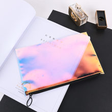 Transparent Colorful TPU Cosmetic Bag Ring-pull Carrying-Zipper Bag Minimalist Waterproof Cosmetic Gift Storage Bag(China)