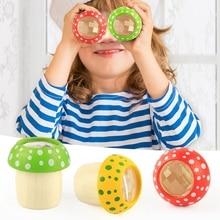 4 PCS Wooden Mushroom Kaleidoscope Toys Baby Puzzle Exploration Toys Multi-Angle Mirror Colorful Magic World for Kid