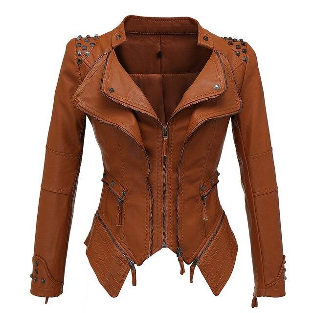 Vestes en Faux cuir femme manches longues, moto lisse, automne hiver motard Streetwear noir et rose manteau 5