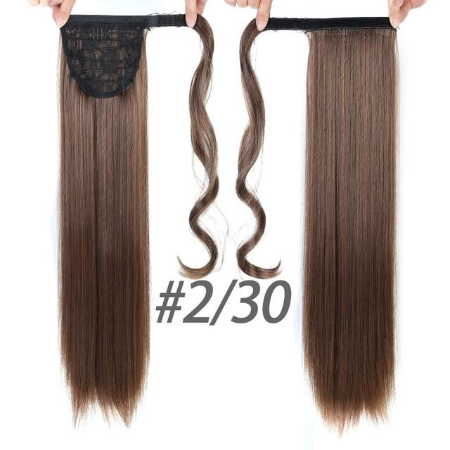 HOUYAN 24 дюймов длинные толстые прямые волосы кудрявые волосы синтетические волокна конский хвост обернутый парик длинный парик конский хвост парик - Цвет: 2I30