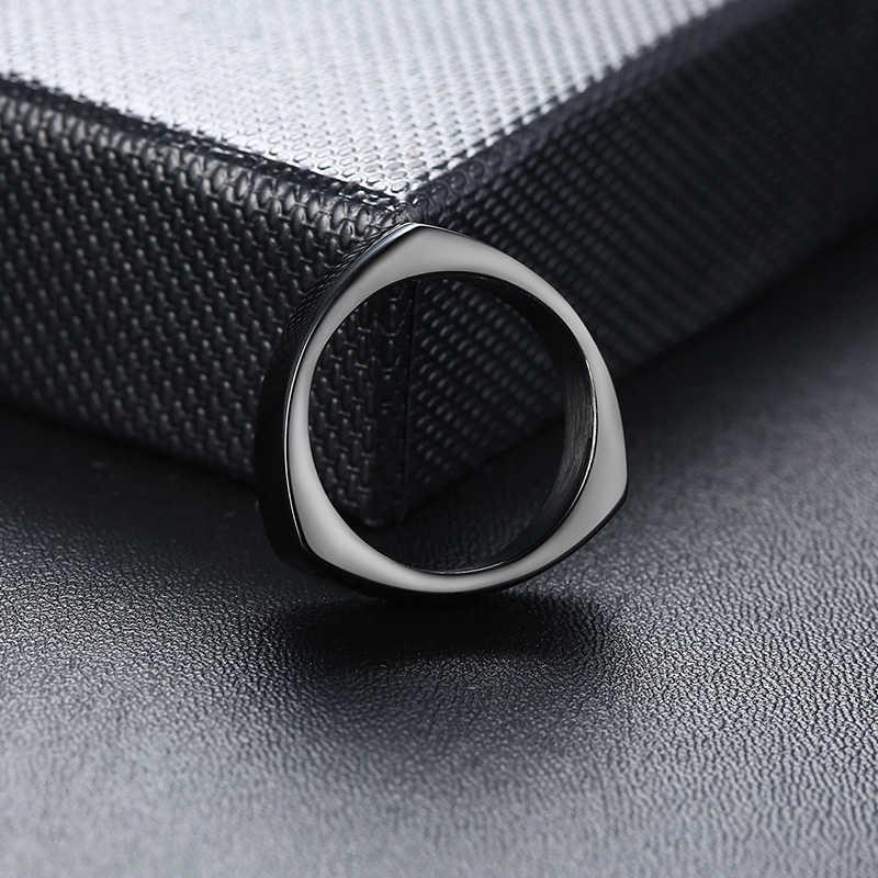 Vnox дизайн кольцо треугольной формы для мужчин черный нержавеющая сталь геометрический мужской группа панк ювелирные изделия