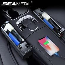 Organizator samochodu do przechowywania między siedzeniami Box PU Leather Auto Car schowek w przerwie między siedzeniami Box z IOS/Android/type-c kabel ładowarki 2 porty Usb