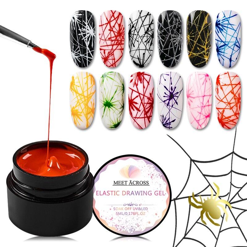 Встретить через 5 мл ногтей паук окраска гелем креативные гвозди дизайн УФ гель провода рисунок эластичность Точка линия замочить от гель п...