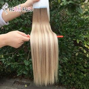 Image 2 - HiArt Extensions de cheveux naturels, avec bande, Balayage, trame de cheveux naturels lisses, Double tirage, pour Salon de coiffure, 18, 20 ou 22 pouces, 2.5g par pièce