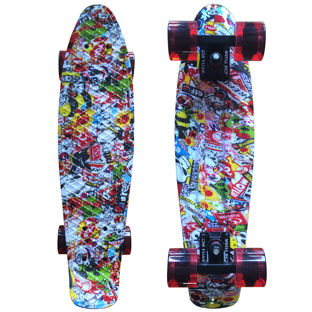 CHI YUAN Kito Graphic Printed Mini Cruiser Plastic Skateboard 22