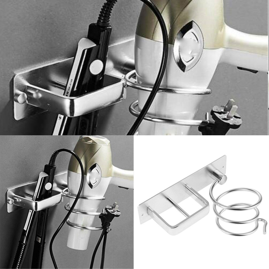 Metal Wall Mounted Hair Dryer Storage Organizer Rack Holder Hanger Cupboard Storage Stand Rack Bathroom Tool Hair Dryer Rack