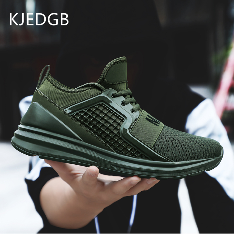 KJEDGB 2019 Breathable Mesh Men Sneakers Solid Black White Green Red Light Mens Casual Shoes size 39 47 Support Dropshipping-in Men's Casual Shoes from Shoes