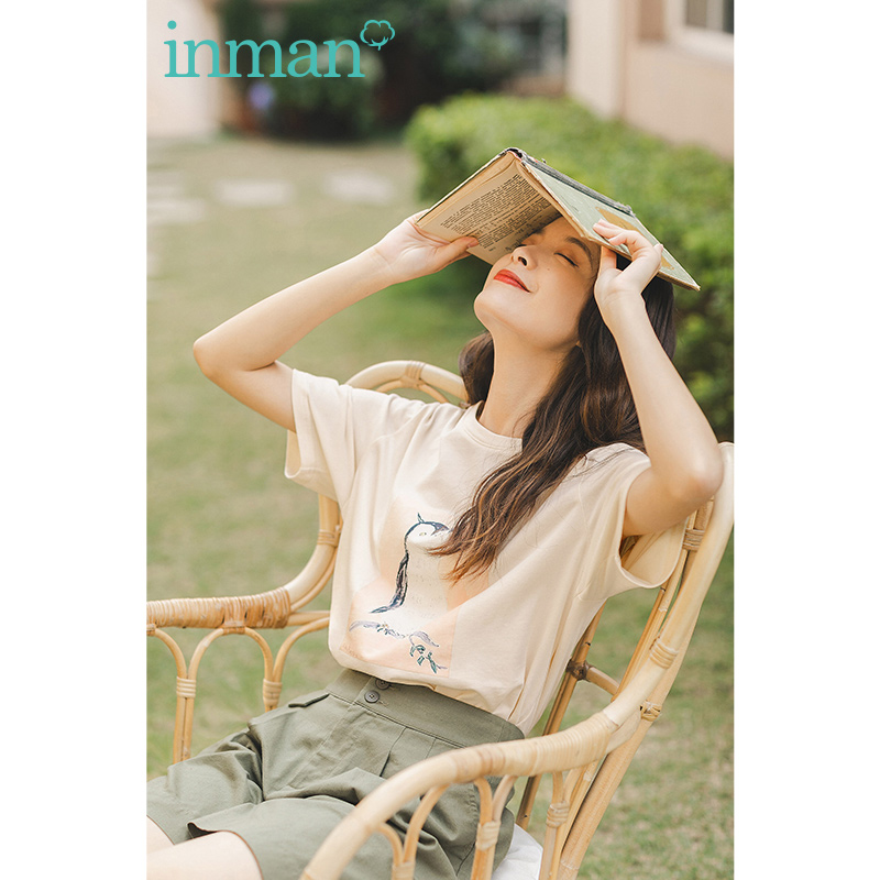 INAMN 2020 Summer New Arrival Loose Cotton Literary Print O-neck All-match Pure And Fresh Short Sleeve T-shirt
