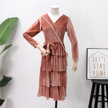 Mooirue Autumn Winter Woman Pleuche Long Dress V Neck Vintage Streetwear With Sashes Ruffles Sleeve Koren Style Vestidos