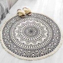 Alfombra redonda Retro Para sala de estar dormitorio algodón Lino borlas alfombra hilo teñido alfombrilla tapiz decoración del hogar