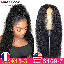 Perruque péruvienne bouclée pour femme noire, cheveux humains avec fermeture avant, de 30 pouces, qualité Remy 180