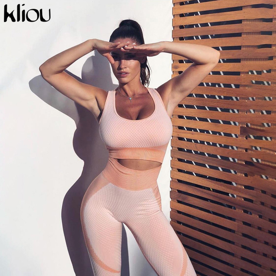 Kliou Women Fitness Two Pieces Set Active Wear Backless Crop Top Bra + Elastic High Waist Leggings Skinny Slim Tracksuit Outfit