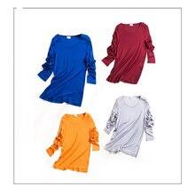 Женский топ из однотонного шелка рубашку с длинными рукавами