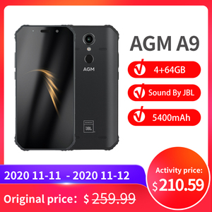 "Image 1 - 공식 AGM A9 JBL 공동 브랜딩 5.99 ""FHD + 4G + 64G 안드로이드 8.1 견고한 전화 5400mAh IP68 방수 스마트 폰 쿼드 박스 스피커"