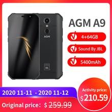 """الرسمية AGM A9 JBL المشارك العلامة التجارية 5.99 """"FHD + 4G + 64G أندرويد 8.1 جوّال المهامّ الوعرة 5400mAh IP68 مقاوم للماء الهاتف الذكي رباعية صندوق مكبرات الصوت"""