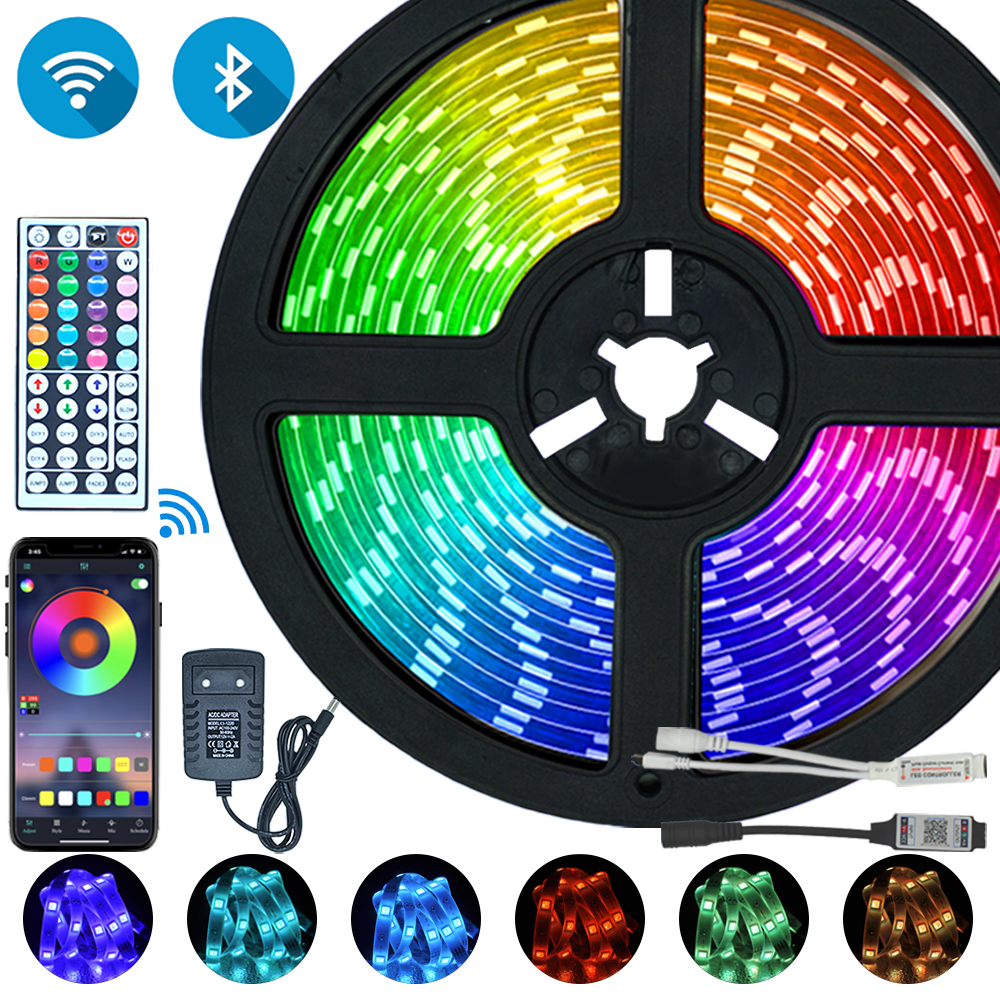 LED Strips Lights Bluetooth Iuces RGB 5050 SMD 2835 Waterproof WiFi Flexible Lamp Tape Ribbon Diode DC12V 5M 10M 15M 20M Color 1