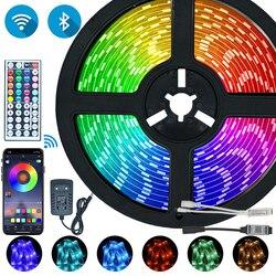 Светодиодный полосы света Bluetooth Iuces RGB 5050 SMD 2835 Водонепроницаемый Wi-Fi гибкая лампа лента диод DC12V 5, 10 м, 15 м, 20 м Цвет