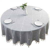 Round Tablecloth Cotton Linen Tassel Table Cover for Kitchen Dinner Table Decorative Jacquard Table Desk Cover