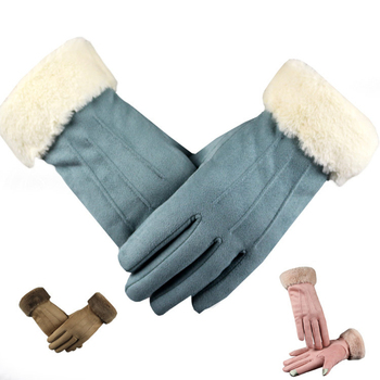 New Winter Suede Gloves Women Touch Screen Leather Glove Female Long Finger Autumn Mittens Fashion Warm Velvet Driving - discount item  42% OFF Gloves & Mittens