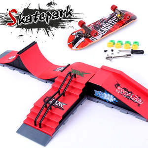 Mini Alloy Finger Skating Board Venue For Children Boys Birthday Gifts Combination Skateboard Ramp Track Educational Toy Set
