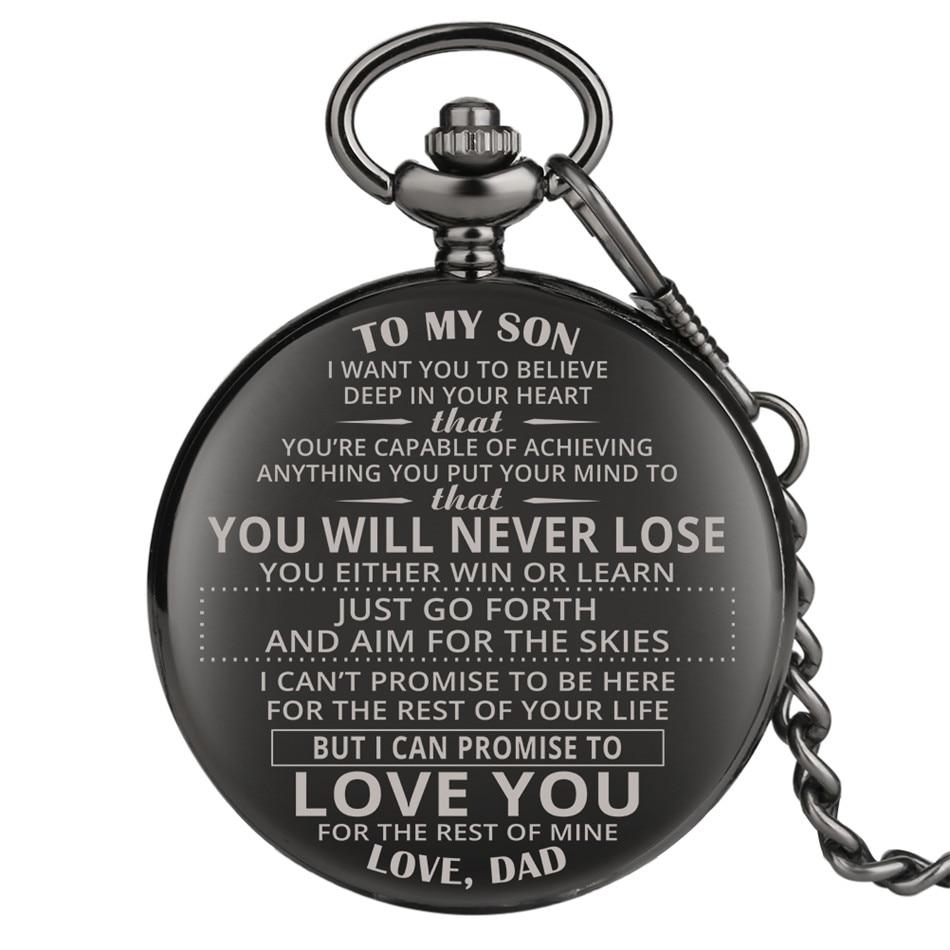 To My Son, Love Dad Design Custom Laser Engraving Antique Pocket Watch Retro Punk Pocket Chain Arabic Numerals Pocket Clock