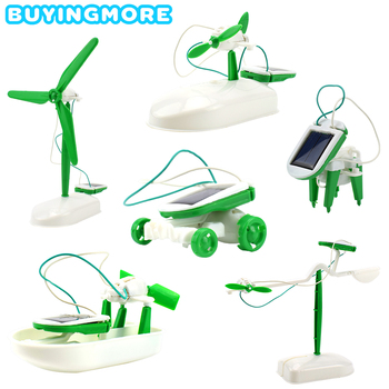 6 IN 1 Solar Robot Model Kit Science Toys for Children DIY Assemble Airplane Boat Car Train Model Educational Gifts Toys for Boy solar powered boat no 3 kit diy ship model puzzle handmade material spare parts rc accessories for science education f19139